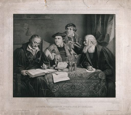Four Protestant reformers translating the Bible. Lithograph by L Noel after PA Labouchère, 1847. (Left to right) Melanchthon, Luther, Pomeranus (Bugenhagen) and Cruciger the elder seated around a table. Created 1847. Reformed Church. Philipp Melanchthon (1497–1560). Martin Luther (1483–1546). Johann Bugenhagen (1485–1558). Kaspar Cruciger (1504–1548). Contributors: Pierre Antoine Labouchère (1807–1873); Alphonse Léon Noël (1807–1884). Work ID: kktztaub.