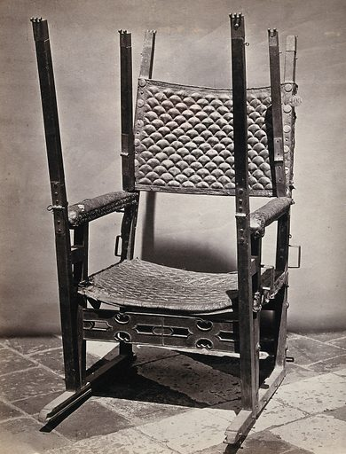 A portable chair belonging to Emperor Charles V of the Holy Roman Empire, ca 1545. Photograph, ca 1900. Created 1900. Charles V, Holy Roman Emperor (1500–1558). Work ID: ywhs6sz7.