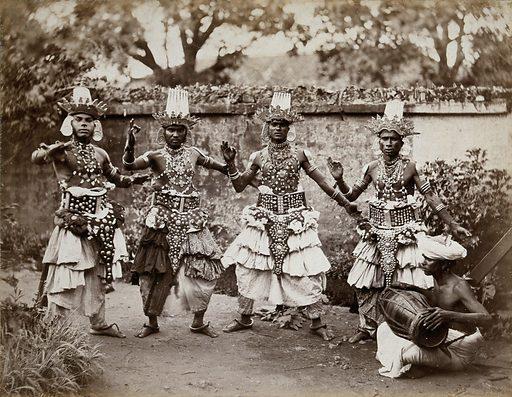 Sri Lanka: traditional 'devil dancers' in costume. Photograph, ca 1860. Created 1860. Work ID: db8sz2ey.