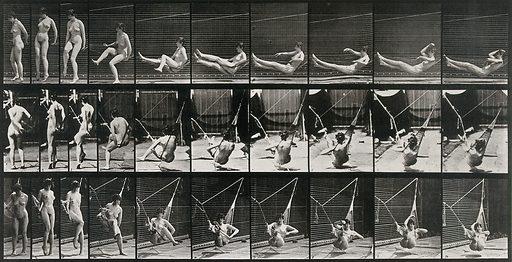 A woman getting into a hammock. Collotype after Eadweard Muybridge, 1887. Created 1887. Contributors: Eadweard Muybridge (1830–1904); University of Pennsylvania. Work ID: x7fby5d6.
