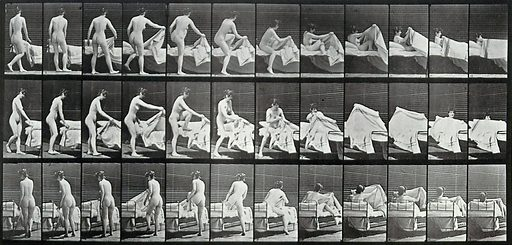 A woman getting into a bed. Collotype after Eadweard. A woman getting into a bed. Photogravure after Eadweard Muybridge, 1887. Sequence. Photograph. Contributors: Eadweard Muybridge; University of Pennsylvania. Work ID: dvrryzev.