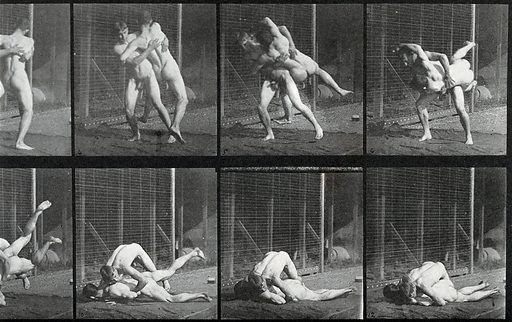 Two men wrestling. Photogravure after Eadweard Muybridge, 1887. Sequence. Photograph. Contributors: Eadweard Muybridge; University of Pennsylvania. Work ID: as49a2tk.