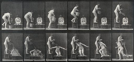 A woman pouring a bucket of water over another woman who sits in a large bowl. Collotype after Eadweard Muybridge, 1887. Created 1887. Contributors: Eadweard Muybridge (1830–1904); University of Pennsylvania. Work ID: r478a4u6.