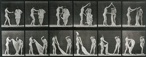 A woman undressing another woman. Collotype after Eadweard Muybridge, 1887. Created 1887. Contributors: Eadweard Muybridge (1830–1904); University of Pennsylvania. Work ID: jb7dkc9d.