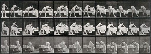 A woman making a bed. Collotype after Eadweard Muybridge, 1887. Created 1887. Contributors: Eadweard Muybridge (1830–1904); University of Pennsylvania. Work ID: hrvmjdzq.