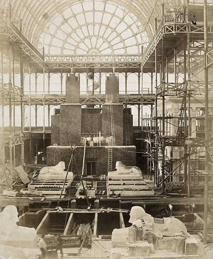 The Crystal Palace during its re-erection at Sydenham, London: sphinxes in the unfinished interior. Photograph by Philip Delamotte, ca 1854. Created 1854. Contributors: Philip H Delamotte (1821–1889). Work ID: w8wdyuaf.