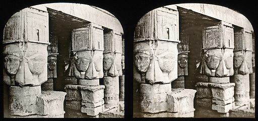 The Temple of Dendera, Egypt: stereoscopic views of the portico. Photograph by Francis Frith, 1856/1859. Created 1856–1859. Contributors: Francis. Frith. Work ID: thh4v6e4.