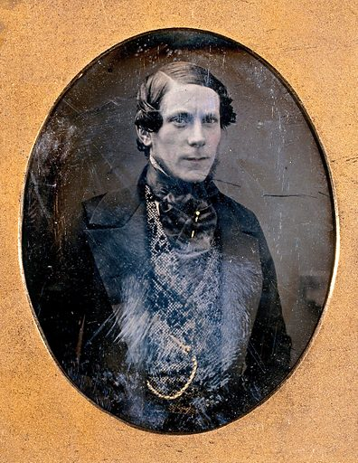 A man in a patterned waistcoat with a gold watch-chain. Photograph, 1840/1855. Created 1840–1855. Work ID: phbzxax6.