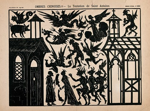 The temptation of St Antony. Lithograph silhouettes. Created between 1800 and 1899/between 1900 and 1999. Work ID: nz4q7d7v.