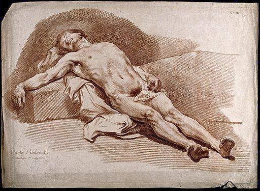 A reclining sleeping male nude. Soft ground etching by G Demarteau, after C Vanloo. Contributors: Carle Vanloo (1705–1765); Gilles Demarteau (1722–1776). Work ID: gw9wyk8a.