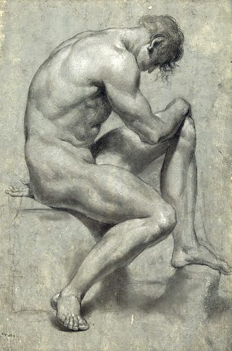 A seated male nude with his head bowed. Black chalk drawing by JJ Masquerier. Contributors: John James Masquerier (1778–1855). Work ID: gdbbrk2e.