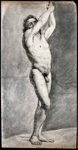 A standing male nude with his arms raised. Black chalk drawing by JJ Masquerier, 1793. Contributors: John James Masquerier. Work ID: fgqpytzh.