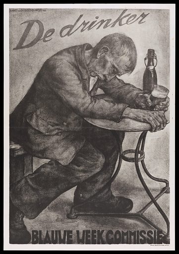 An intoxicated man drinking beer; advertising Blauwe Week against alcohol. Lithograph (?), 1936, after A van Dobbenburgh, 1935. Created 1936. Temperance. Alcoholic beverages. Alcoholics. Netherlands. Contributors: Aart van Dobbenburgh (1899–); Blauwe Week Commissie. Work ID: chhka3p8.
