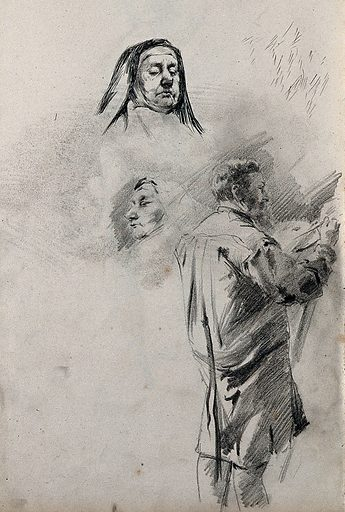 A sheet with two sketches of a nun's head and a standing male figure painting. Pencil drawing. Work ID: egd8wgjq.