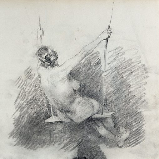 A female nude, sitting on a swing, seen from behind. Pencil drawing. Work ID: f7zvfbqq.