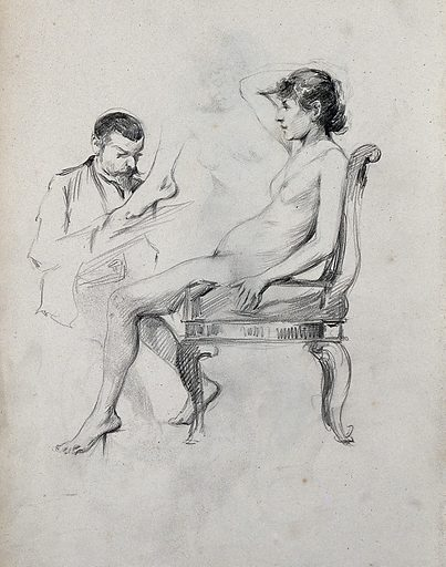 A seated female nude sketched by a seated man with a second sketch of a left foot. Pencil drawing. Work ID: y7deu4nt.