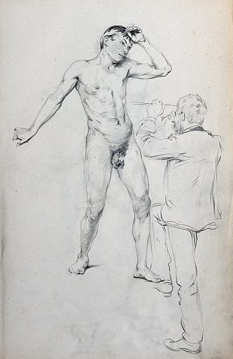A man sketching a standing young male nude. Pencil drawing. Work ID: yxr7wbst.