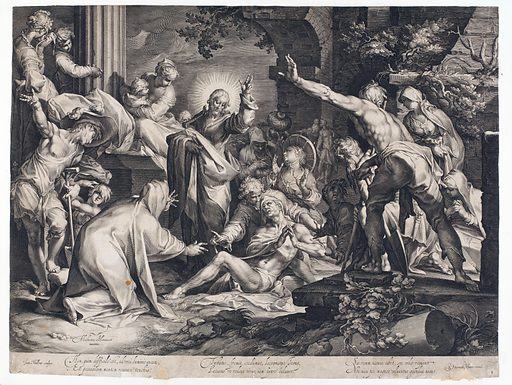 The raising of Lazarus. Engraving by J Muller after A Bloemaert. Christ raises his left hand in blessing, presumably in reverse to the direction of the painting. Created between 1600 and 1699. Raising of Lazarus (Miracle). Light and darkness in the Bible. Resuscitation. Dead. Burial. Jesus Christ Miracles. Lazarus (Biblical figure). Contributors: Abraham Bloemaert (1564–1651); Jan Harmensz. Muller (1571–1628). Work ID: e8dey4u8.