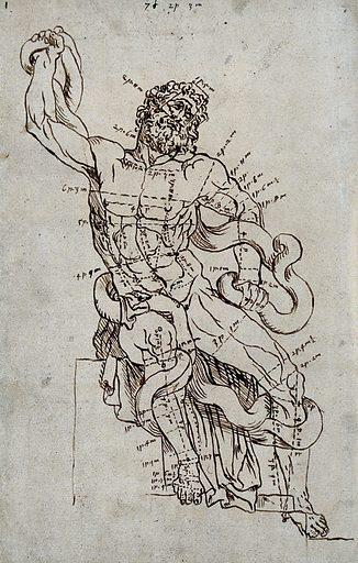 The Laocoön sculpture. Pen and ink drawing after G Audran. Agesander. Laocoön group. Contributors: Gérard Audran (1640–1703). Work ID: gxw43v8d.
