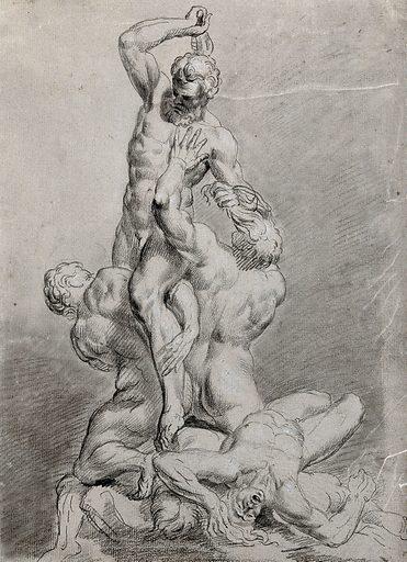 Samson overcoming the Philistines. Pencil drawing by R Earlom. Contributors: Richard Earlom (1743–1822). Work ID: g2f4bhqs.