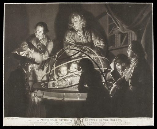 A philosopher giving a lecture on the orrery. Mezzotint by W Pether, 1768, after Joseph Wright of Derby. Created May 20th 1768. Planetariums. Lectures and lecturing. Contributors: Joseph Wright (1734–1797); William Pether (1731–approximately 1795). Work ID: q438xyjs.