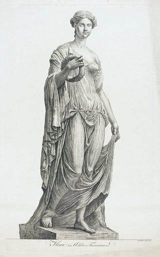 """Flora. Etching by R Dalton, 174–. A woman holding a wreath. The sculpture known as the """"Farnese Flora"""", formerly in Palazzo Farnese, Rome, and from 1800 in Naples (latterly Museo Nazionale): Haskell and Penny, loc. cit. Created between 1740 and 1749?. Farnese Flora (Statue). Greco-Roman. Sculpture. Flora (Roman deity). Contributors: Richard Dalton (1715?-1791). Work ID: mcnbyfcq."""