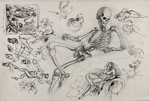A seated skeleton; five sketches of a seated figure and a leg and foot. Pen and ink and pencil drawing. Work ID: h5v92dhu.