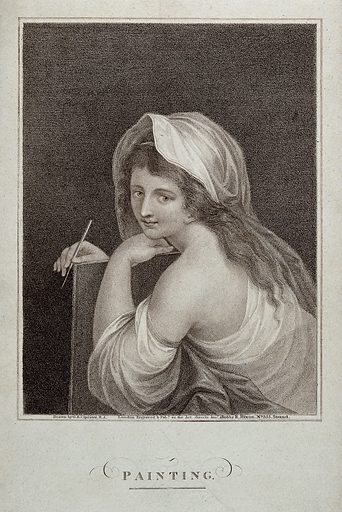 A woman personifying painting. Stipple engraving by R Hixon, 1806, after GB Cipriani. Created Jan[uar]y 1806. Contributors: Giovanni Battista Cipriani (1727–1785); R Hixon (active 1806–1813). Work ID: hnc4n2tg.