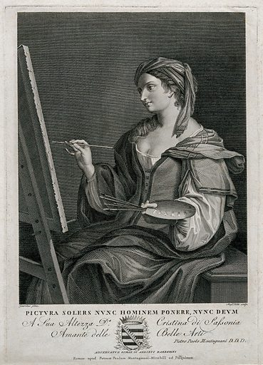 A woman personifying the art of painting. Engraving by A Testa after GF Barbieri, il Guercino. Contributors: Guercino (1591–1666); Angelo Testa (1775–?); Maria Christina, Princess of Saxony, Princess of Carignano, 1770– (1851). Work ID: k4hmb44w.