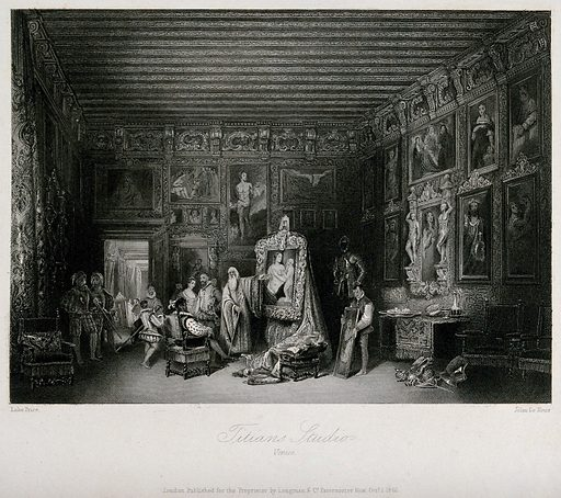 A richly decorated interior, in which the elderly painter Titian shows a painting to a seated client. Engraving by J Le Keux, 1846, after L Price. Created 1 October 1846. Painting. Artists' studios. Venice (Italy). Titian (approximately 1488–1576). Contributors: Lake Price (1810–approximately 1852); Le Keux, John Henry (1812–1896). Work ID: wxf5bgfr.