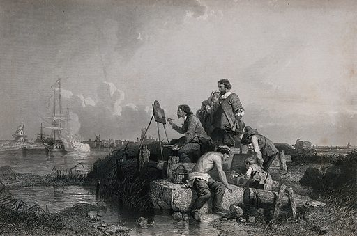 Willem van de Velde painting at his easel on the shore watched by a group of onlookers. Engraving by CW Sharpe after E Le Poittevin. Willem van de Velde the elder or the younger?. Created between 1800 and 1899. Willem van de Velde (1610 or 1611–1693). Willem van de Velde (1633–1707). Contributors: Eugène-Modeste-Edmond Lepoittevin (1806–1870); Charles William Sharpe (1818–1899). Work ID: sryej7na.