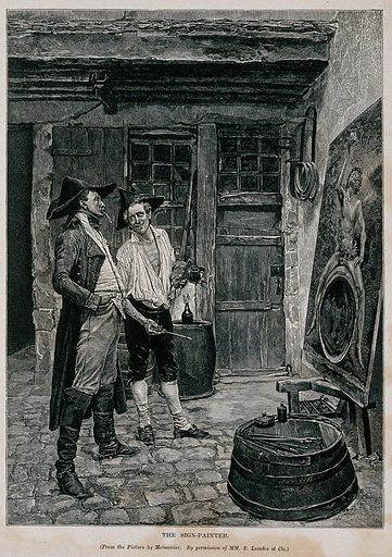 An artist and his client before a painting of Bacchus. Wood engraving, 1877, after JLE Meissonier. Contributors: Jean-Louis-Ernest Meissonier. Work ID: vdecwxmz.