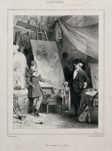 An artist discussing a painting with a client. Photolithograph by J David. Contributors: Jules David (1808–1892). Work ID: ux8rzyp7.