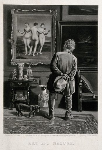 A man looking at a version of the painting of the three Graces by Raphael. Mezzotint by F Atkinson, 1882, after JE Soden. Created 1st September 1882. The. Graces. Art museums. Personal. Beauty. Raphael, 1483–1520. Three Graces. Contributors: John Edward Soden (active 1861–1887); Frank Atkinson (active 1882–1893). Work ID: fnken977.