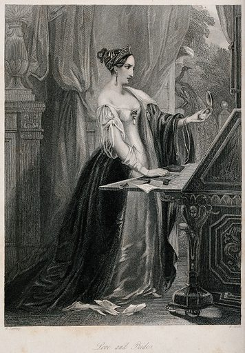 A woman contemplating a portrait miniature as she stands at a desk on which lies a letter. Engraving by H Cook after W Perring. Love. Painting. Emotions. Letters. Contributors: William Perring (active 1845); H Cooke. Work ID: h7khr4e6.