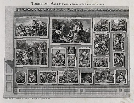 The electoral picture gallery at Düsseldorf: paintings in the third gallery. Engraving, 1776. Giac. Bassano no.126: this painting of the Virgin Mary and the Christ Child with St Anthony the Hermit and St Martin is by Jacopo da Ponte, called Bassano (1517/18–1592) and is in the Alte Pinakothek, Munich (inv. 917) Dominichino no.113: this painting of Susanna and the Elders is by Domenichino (1581–1641) and is in the Alte Pinakothek, Munich (inv. 466). Created 1776. Düsseldorf (Germany). Johann Wilhelm, Elector Palatine, 1658–1716. Art collections. Work ID: prwcp3x6.
