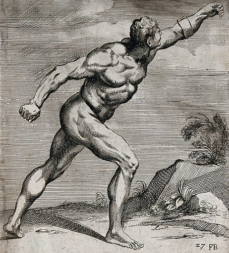 The Borghese Gladiator, lateral view seen from the right. Etching by F Perrier. Work ID: c5hxwum2.