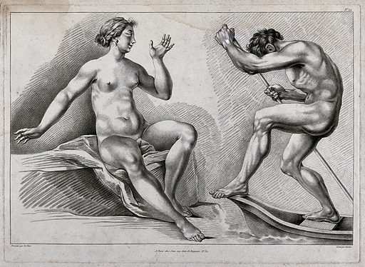 A seated female nude figure and a male nude figure punting in a boat. Crayon manner print by JB Lucien, 1798, after PT Le Clerc. Created 1798. Contributors: Le Clerc, Pierre Thomas (approximately 1740–approximately 1796); Jean-Baptiste Lucien (approximately 1748–1806). Work ID: x9nwp9g8.