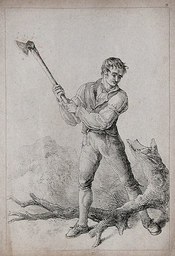 A man holding up an axe. Lithograph, 1813. Work ID: wycudw8q.