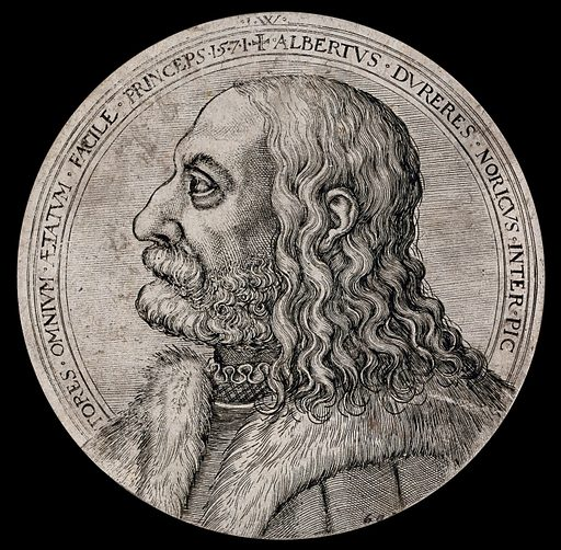 Albrecht Dürer in profile. Etching, 1571. Created 1571. Work ID: wtp56sqy.
