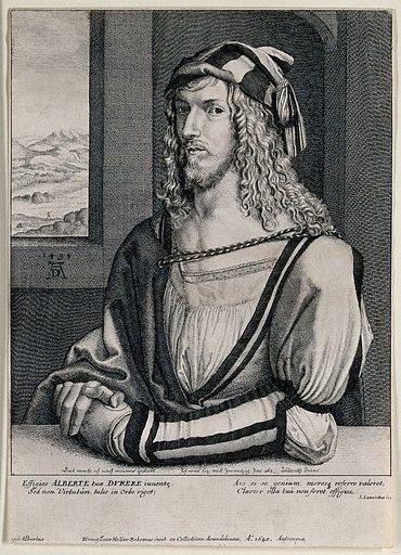 Albrecht Dürer. Etching by W Hollar, 1645, after A Dürer. Contributors: Albrecht Dürer. Work ID: ckmqse4b.