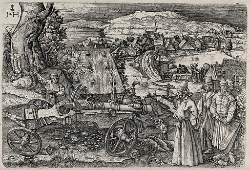 A Hungarian followed by his soldiers is surveying a cannon that is guarded by a knight; in the distance a village and hills slope down to a sea shore. Etching by H Hopfer after A Dürer. Contributors: Albrecht Dürer (1471–1528); Hieronymus Hopfer (active 1520–1535). Work ID: bkcjq2qy.