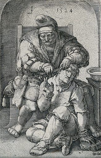 A seated surgeon cutting behind the ear of a younger man seated at his feet. Engraving by L van Leyden, 1524. Contributors: name. Work ID: ez875kqr.