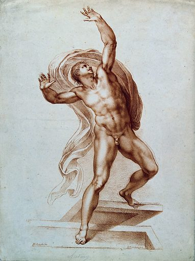 The risen Christ. Soft ground etching by F Bartolozzi after M Buonarroti. Contributors: Michelangelo Buonarroti (1475–1564); Francesco Bartolozzi (1727–1815). Work ID: et8gga6j.