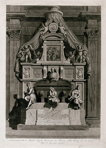The tomb of Michelangelo Buonarroti in the church of Santa Croce, Florence. Etching by G Pera, 180–, after C Rossi-Melocchi. Created 180–?. Michelangelo Buonarroti, 1475–1564. Tomb. Contributors: Rossi-Melocchi, Cosimo (1758–1820); Giuseppe Pera (active 1820–1830). Work ID: aaehwvny.
