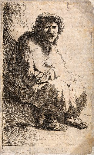 A beggar sitting on a hillock. Etching by J Bretherton after Rembrandt van Rijn. Contributors: Rembrandt Harmenszoon van Rijn (1606–1669); James Bretherton (approximately 1730–1806). Work ID: u4ky4qp2.