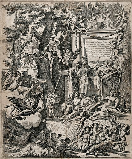 """The arrival of a purple griffin, representing Cardinal Franciotti, is greeted in Lucca by virtues, a river god accompanied by naiads, and genii. Etching after P Testa. An allegory in honour of the arrival of Cardinal Franciotti as Bishop of Lucca in 1637. He is described as """"the indigo shepherd"""" and """"the purple griffin"""": indigo or purple because he is a cardinal, and a griffin because the griffin appears on his shield. He is accompanied by personifications of the three theological virtues: (left to right) charity holding an infant, hope holding an anchor, and faith praying. The river god is presumably the river Serchio which runs through Bagni di Lucca (though interpreted by Bartsch, loc. cit., as the Tiber). In front of the inscription stand personifications of the four cardinal virtues: (left to right) justice, bravery, temperance and wisdom or prudence. In the lower right corner, cupids overpower a leopard: in Bartsch's interpretation of the original etching, they are playing with the Roman she-wolf. Created 1600–1699. Cardinal virtues. Theological virtues. Lucca (Italy). Serchio River (Italy). Marcantonio Franciotti (1592–1666). Contributors: Pietro Testa (1611–1650). Work ID: kp29439x."""