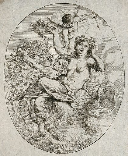 Mars, Flora and Venus with a flying cupid holding an arrow. Etching by C Schut I Contributors: Cornelis Schut. Work ID: dzrmyj8x.