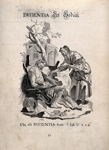 """Allegory of patience: Job, afflicted with sores, is asked by his wife """"Where is your patience?"""". Drawing, ca 1740. Created 1740. Work ID: ycmestfw."""