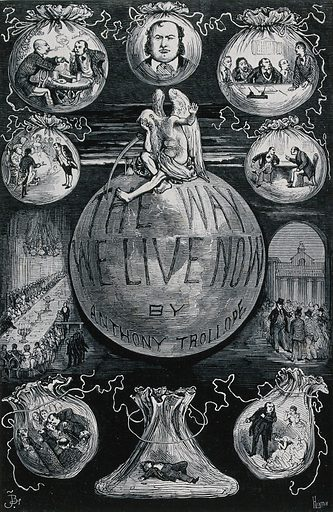 Centre, Father Time seated on the globe, hiding his face in his right hand so as not to see the scenes depicted in the vignettes around him. Engraving by H Linton, ca 1880. Created 1880?. Contributors: Henry Duff Linton (1815–1899). Work ID: jqdnc6sp.